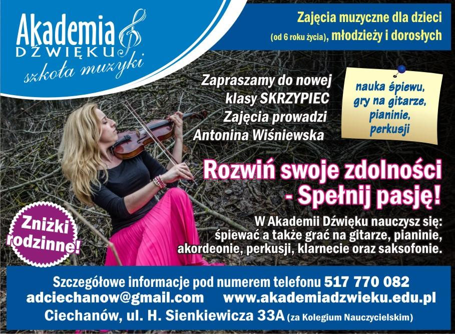 Akademia Dźwięku Ciechanów - nowa klasa - skrzypce
